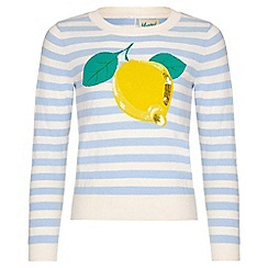 Yumi Girl - blue Lemon Intarsia Stripe Jumper