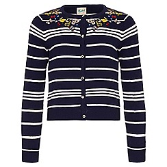 Yumi Girl - blue Stripe Embroidered Cardigan