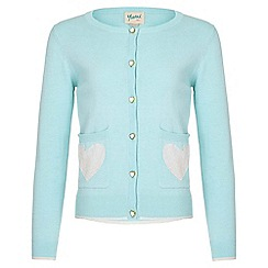 Yumi Girl - green Heart Cotton Cardigan