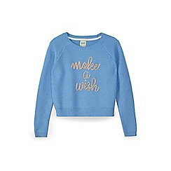 Yumi Girl - Blue make a wish knitted jumper