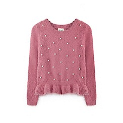 Yumi Girl - Pink ruffled hem jumper with pearls