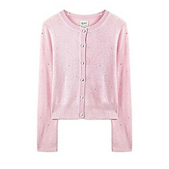 Yumi Girl - Girls' light pink cascading diamante embellished cardigan