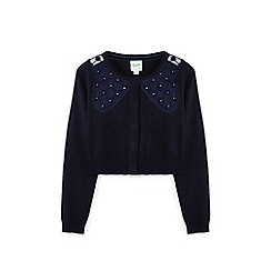 Yumi Girl - Navy flower bow cardigan
