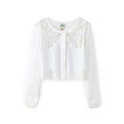 Yumi Girl - White flower bow cardigan