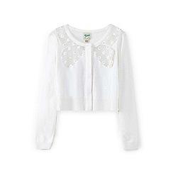 Yumi Girl - White flower bow cardigan