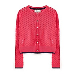 Yumi Girl - Cerise animal pointelle cardigan