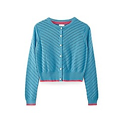Yumi Girl - Blue animal pointelle cardigan