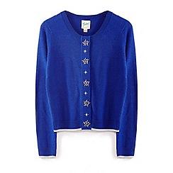 Yumi Girl - Bright blue embellished jewlled star cardigan