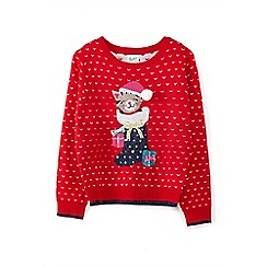 Yumi Girl - Red sequin cat Christmas jumper