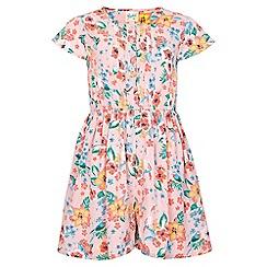 Yumi Girl - multicoloured Tropical Floral Short Sleeve Playsuit