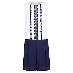 Yumi Girl - navy Daisy Trim Front  Playsuit