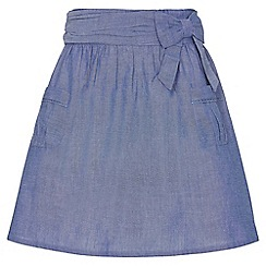 Yumi Girl - blue Pocket Bow Chambray Skirt
