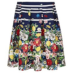 Yumi Girl - navy Floral Stripe Skirt