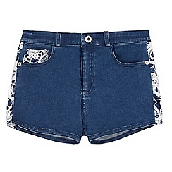 Yumi Girl - Blue Crochet Denim Shorts