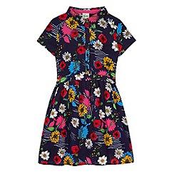 Yumi Girl - Blue Floral Print Shirt Dress