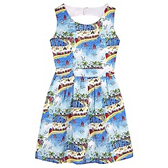 Yumi Girl - Blue South of France Print Skater Dress