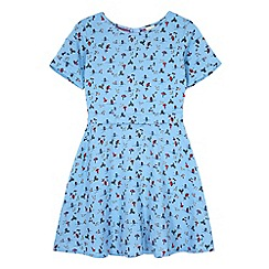 Yumi Girl - Blue Seaside Print Skater Dress