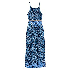 Yumi Girl - Blue Fading Floral Print Maxi Dress