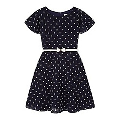 Yumi Girl - Blue Polka Dot Lace Dress