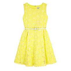 Yumi Girl - Yellow Floral Lace Skater Dress