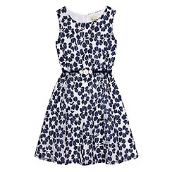 Yumi Girl - Blue Floral Lace Skater Dress