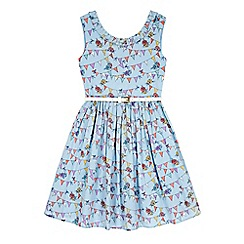 Yumi Girl - Blue Bunting Print Party Dress