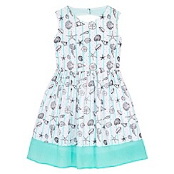 Yumi Girl - Blue Seashell Stripe Print Day Dress