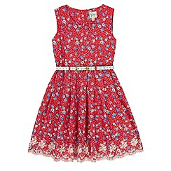 Yumi Girl - Red Polka Dot Floral Print Day Dress