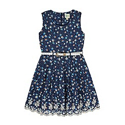 Yumi Girl - Blue Polka Dot Floral Print Day Dress