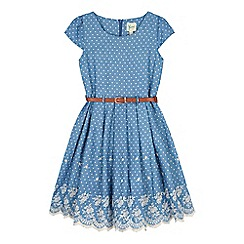 Yumi Girl - Blue Chambray Polka Dot Print Dress