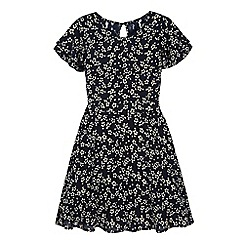 Yumi Girl - Navy Ditsy Floral Print Day Dress