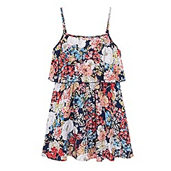 Yumi Girl - Blue Butterfly Floral Print Frill Dress