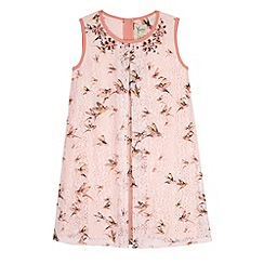 Yumi Girl - Pink Bird Print Lace Shift Dress