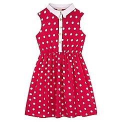 Yumi Girl - Pink Polka Dot Collar Dress