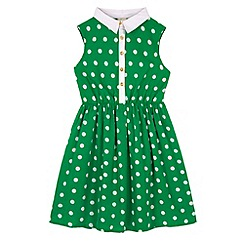 Yumi Girl - Green Polka Dot Collar Dress