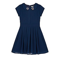 Yumi Girl - Blue Embellished Collar Party Dress