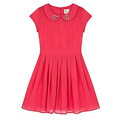 Yumi Girl - Pink Embellished Collar Party Dress