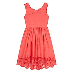 Yumi Girl - Pink Borderie Anglaise Bow Day Dress