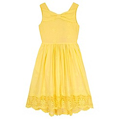 Yumi Girl - Green Borderie Anglaise Bow Day Dress
