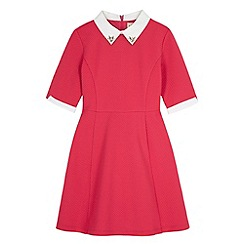 Yumi Girl - Pink Contrast Embellished Collar Dress