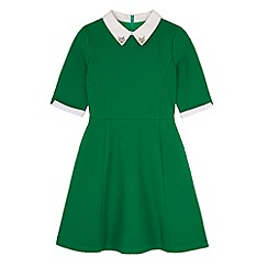 Yumi Girl - Green Contrast Embellished Collar Dress