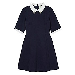 Yumi Girl - Blue Contrast Embellished Collar Dress