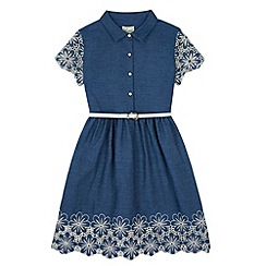 Yumi Girl - Blue Denim Broderie Anglaise Shirt Dress