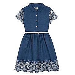 Yumi Girl - Blue Denim Broderie Anglaise Shirt Dress