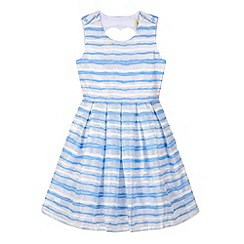Yumi Girl - Blue Organza Stripe Heart Cut Out Dress