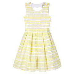 Yumi Girl - Yellow Organza Stripe Heart Cut Out Dress