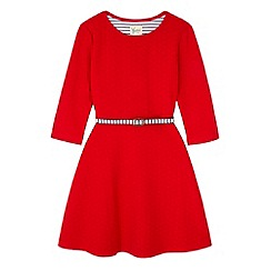 Yumi Girl - Red Ponte Skater Dress with Stripe Belt