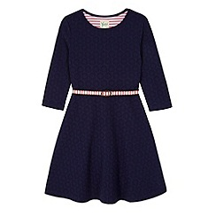 Yumi Girl - Blue Ponte Skater Dress with Stripe Belt