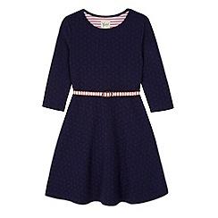 Yumi Girl - Blue Ponte Skater Dress with Stripe Belt