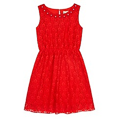Yumi Girl - Red Embellished Daisy Lace Dress